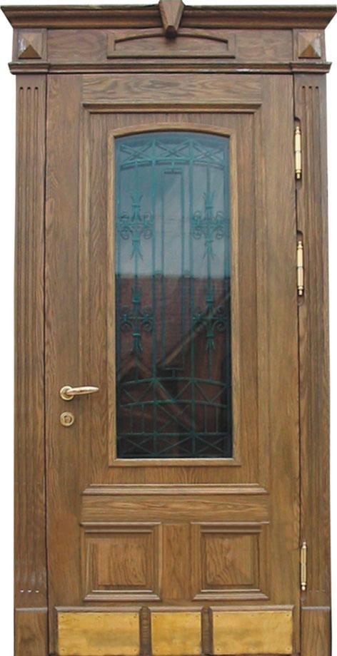 дубовая зеленая входная дверь