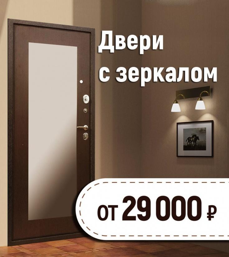 элитные входные двери с зеркалом