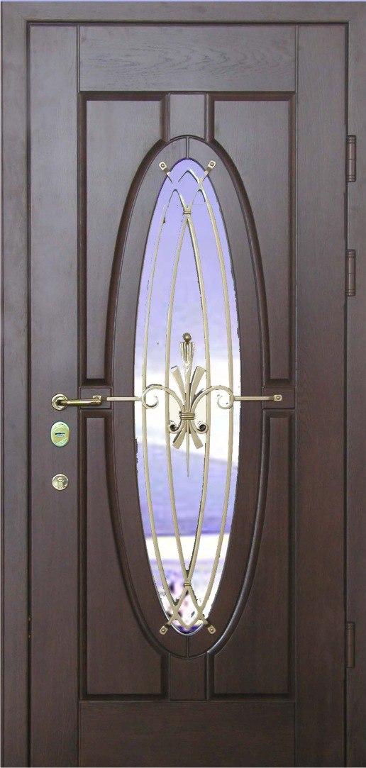 металлическая входная дверь с зеркальной вставкой и ковкой цена