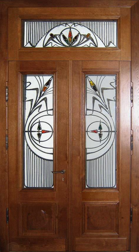 входная двустворчатая парадная металлическая дверь с витражом